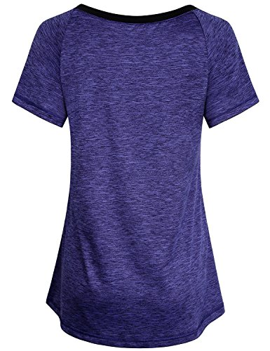 Miusey Athletic Shirts for Women, Vneck Short Sleeve T Workout Blouse Raglan Junior Gym Good Elastic Performance Contrasting Color Collar Informal Baseball Blue L by Miusey (Image #1)