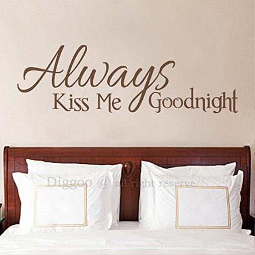 Diggoo Always Kiss Me Goodnight Wall Decal Quote Vinyl Lettering Bedroom Wall Decor Love Wall Saying