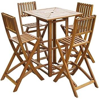 Amazon.com: vidaXL Patio Bar Table and Chairs Set Acacia