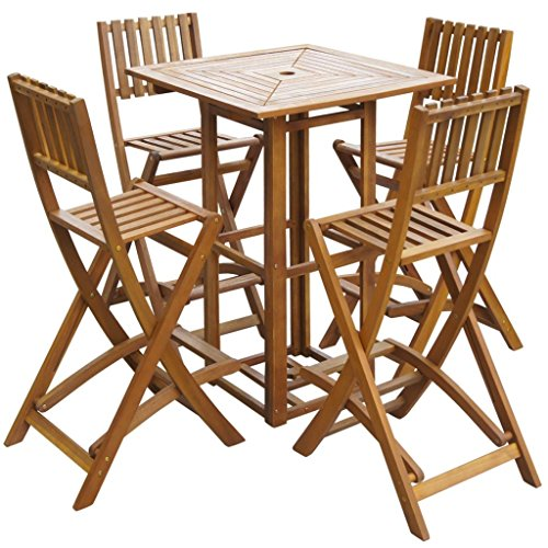 vidaXL Patio Bar Table and Chairs Set Acacia Wood Outdoor Cafe Restaurant ()