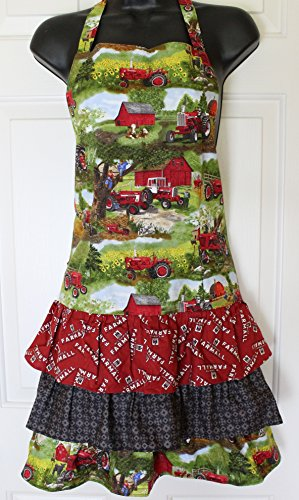 Farm Scene Green Tractor - IH Farmall Tractor Ladies Apron with Ruffles, Colorful Farm Scene