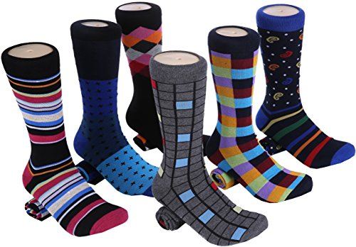 Marino Mens Dress Socks - Fun Colorful Socks for Men - Cotton Funky Socks - 6 Pack - Spunky Collection - 10-13