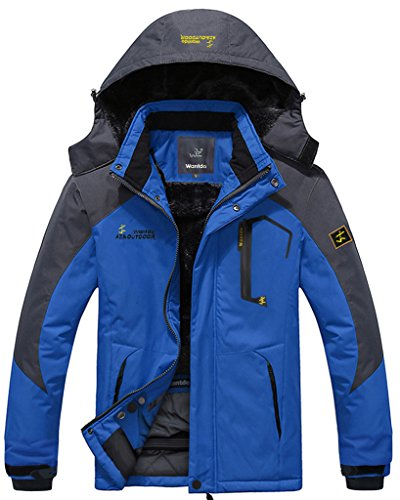 Wantdo Men's Waterproof Mountain Jacket Fleece Windproof Ski Jacket(US - Foul Line