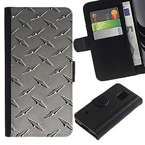 LASTONE PHONE CASE / Lujo Billetera de Cuero Caso del tirón Titular de la tarjeta Flip Carcasa Funda para Samsung Galaxy S5 V SM-G900 / Metal nail texture
