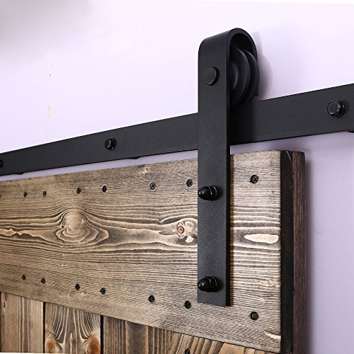 CCJH American Country Flat Style Steel Sliding Barn Door Hardware Interior for Single Door Black(7FT) by CCJH (Image #5)