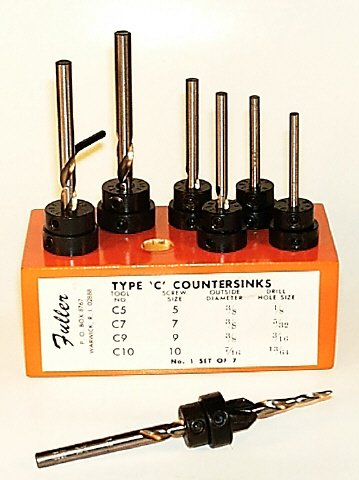 #1 Set of Countersinks with Taper Point Drills in Wood Block ()