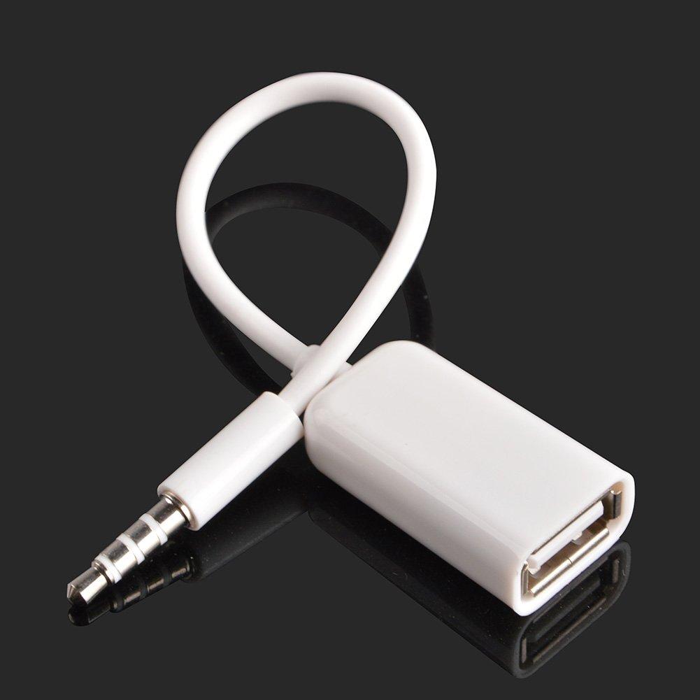 FUNZIONE DECODIFICA BISOGNO AUTO Adattatore da AUX a USB Adattatore jack audio da 3,5 mm maschio per jack audio a USB 2.0 Cavo convertitore convertitore per auto bianco 2 PACK di Oxsubor