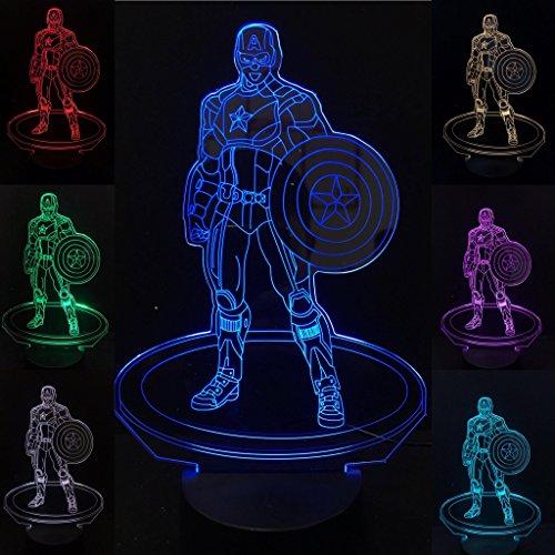 3D Captain America Led Night Light