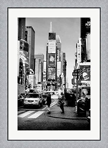 Times Square Nyc by Harold Silverman Framed Art Print Wall Picture, Flat Silver Frame, 26 x 36 - Nyc Square Harold