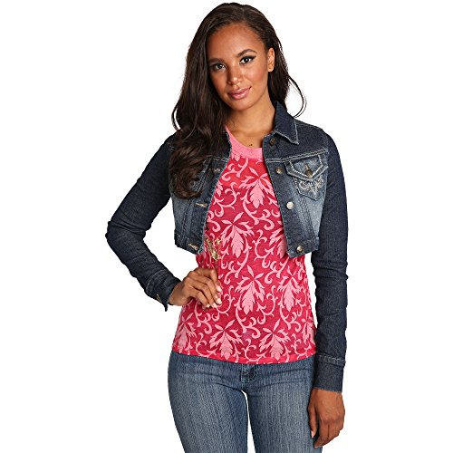 Sweet Vibes Junior Women Button Front Stretch Denim Crpped Jacket Embroidery - Jacket Button Short Front