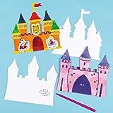 Baker Ross Lot de 10 chateaux en carton à colorier- Idéal pour les activités manuelles en classe