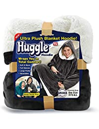 Huggle Hoodie, Ultra Plush Blanket, Charcoal Grey, One Size