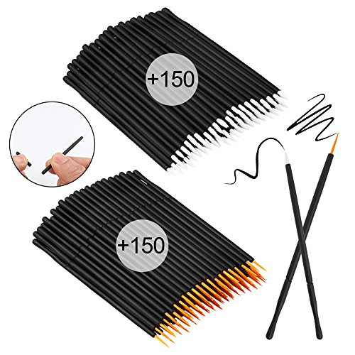 Accmor 300 Pcs Disposable Eyeliner Brush Applicator Cosmetic Eye Wands Makeup Tool