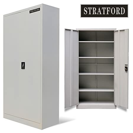 Stratford Metal Cabinet 2 Door Cupboard 5 Shelves 195cm Tall Storage