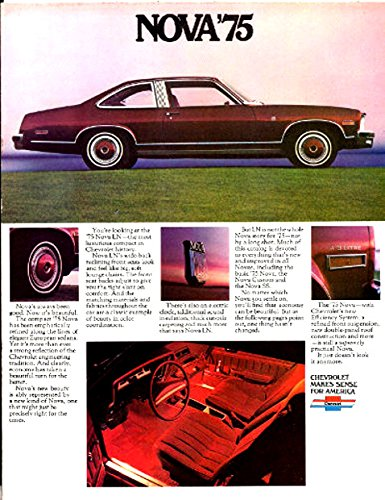 BEAUTIFUL 1975 CHEVY NOVA DEALERS SHOWROOM SALES BROCHURE - Includes LN 4-door Sedan, Hatchback, 2-Door Coupe, Custom Hatchback, SS Package & Rally Wheels