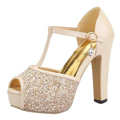 Boda Brillantes Tacon de Tobillo Mujer Toe Beige Sandalias con Correa Zapatos Tacon de UH Peep Plataforma Ancho qX6pwO