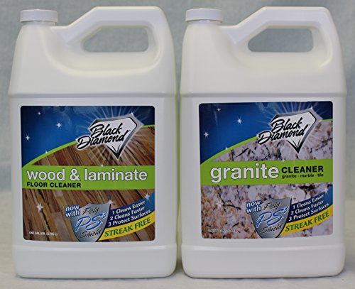 Black Diamond Wood & Laminate Floor Cleaner: For Hardwood, Real, Natural & Engineered Flooring –Biodegradable Safe for Cleaning All Floors. AND Black Diamond Stoneworks Granite Cleaner : Natural Stone, Marble, Travertine, Tile, Silestone, Cambria, Caesarstone, Zodiaq , Concrete Countertops & Antiques. (1, 2-gallons) (Black Action Marble)