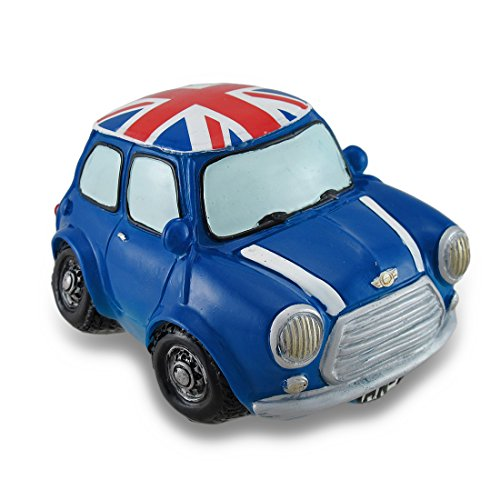 Zeckos Vintage Style Union Jack Mini Cooper Coin Bank Car Piggy Bank Resin Toy Banks Blue