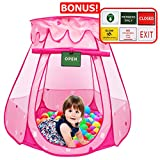 Play Kreative Pink Princess POP UP TENT with carry Case. Girls Pink Playhouse with Mesh Siding, Stars and Red Hearts for indoor/outdoor Kids Playtime Activities – Lovely Birthday Gift for Her