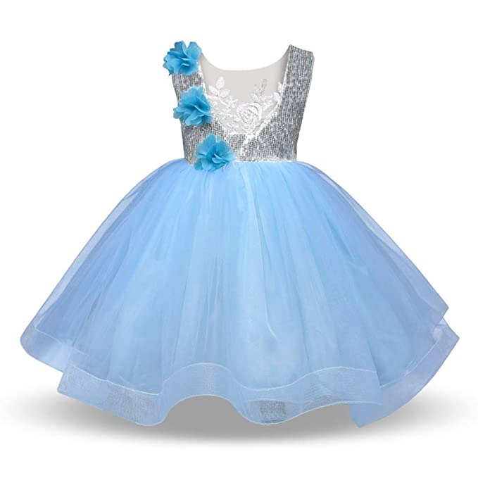 bd278a55b BSGSH Toddler Baby Girls Dress Flower Shiny Sequin Formal Baptism Pageant Princess  Tutu Dress (2
