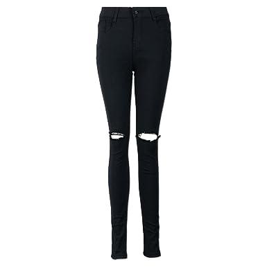 d52d7e2ea8df QinMM Femmes Sexy Trous Jeans Noir Slim Skinny Longues Pantalons ...