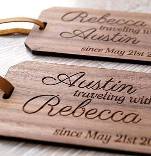 Personalized Luggage Tags Wedding Gift: Amazon.com: Wooden Luggage Tags Set Of 2, Personalized