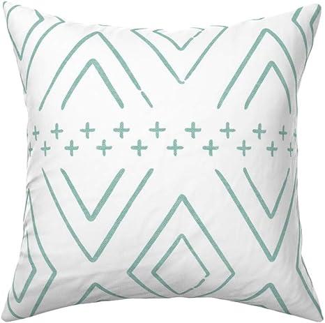 Teal Diamond Pillow Sham Aqua On White Mudcloth by littlearrowdesign Boho Mint Mudcloth Cotton Sateen Pillow Sham Bedding by Spoonflower