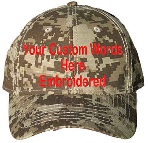 Custom Hat, Embroidered. Your Own Text. Adjustable Back. Curved Bill (Khaki/Dark Olive Green/Dark Khaki Digital ()