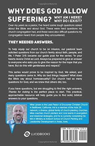 Thanks for asking equipping gods people with answers to lifes thanks for asking equipping gods people with answers to lifes tough questions mike larsen dave kraft 9781632961792 amazon books fandeluxe Choice Image