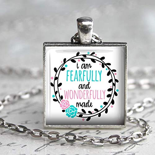I am Fearfully and Wonderfully Made Necklace Handmade Square Pendant