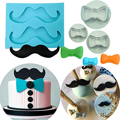 Set of 4 JeVenis Little Man Theme Cake Decoration Mustache Mold Tie Mold Bow Mold for 1st Birthday Cake Decoration First birthday Cake -