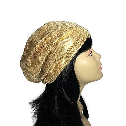 (Gold Mesh Hat Lined Gold Mesh Hat Mesh Slouchy Beanie Gold Net Beanie Summer Slouchy Hat Lightweight Slouchy Beanie)