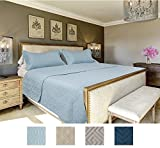 The CONNECTICUT HOME COMPANY Luxury Bedspread Quilt Collection, 3-Piece includes Shams, Oversized, Quilted Pattern, Top Choice by Decorators, Machine Washable (Light Blue-Fleur De Lis: Queen/Full)
