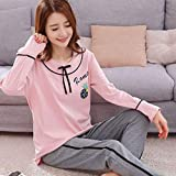 Junson Sleepsuits Cotton Long Sleeve Ladies Nightdress Spring and Autumn Sweet Cute Pink Fashion Home Service Suits (Size : M) for You (Size : XX-Large)