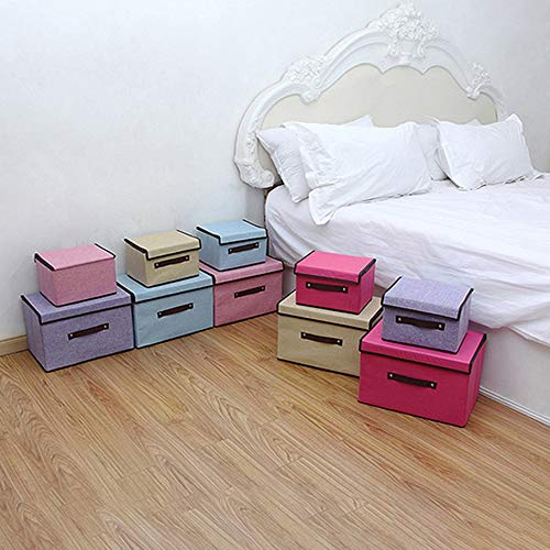 2pcs Cotton Linen Storage Box Container Large Capacity Foldable Closet Box Organizer Clothing Ties Socks Box