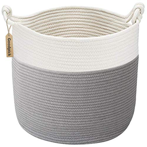 Goodpick Cotton Rope Basket with Handle for Baby Laundry Basket Toy Storage Blanket Storage Nursery Basket Soft Storage Bins-Natural Woven Basket, 15