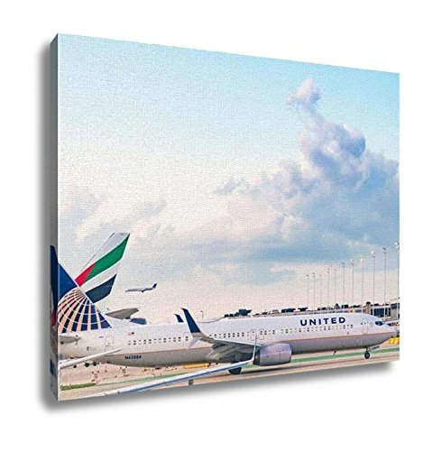 Ashley Canvas, A United Airlines Aircraft Prepares For Departure From Chicago Ohare, Home Decoration Office, Ready to Hang, 20x25, - Chicago To Ohare