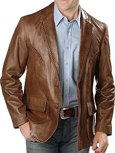 Mens 2 Button Leather Blazer - 4