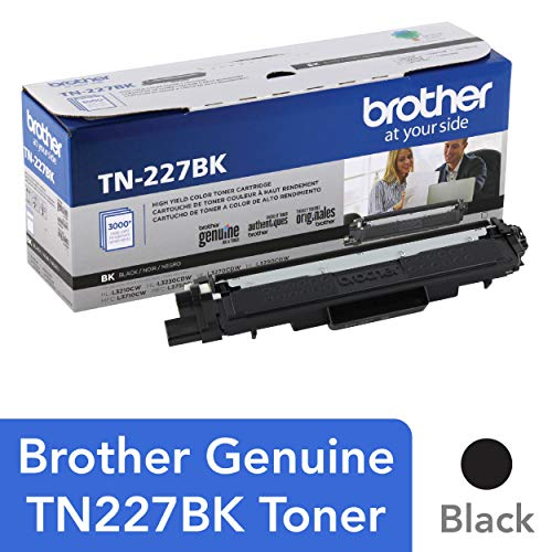 - Brother Genuine TN227, TN227BK, High Yield Toner Cartridge,  Replacement Black Toner, Page Yield Up to 3,000 Pages, TN227BK, Amazon Dash Available