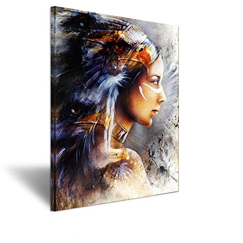 iHAPPYWALL Hello Artwork Canvas Artworks Picture Abstract Native American Indians Girl Feathered Women Eagle Printing Original American Oil Painting Poster for Bedroom Living Room Decoation