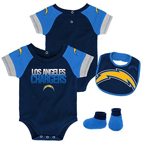Outerstuff NFL NFL LA Chargers Newborn & Infant 50 Yard Dash Bodysuit, Bib & Bootie Set Dark Navy, 12 Months ()