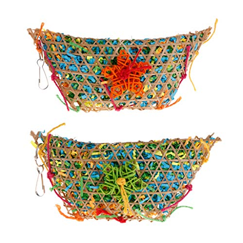 Forgun Parrot Toys Straw Bamboo Strips Colorful Hanging Cage Play Bite Chew Toy Swing Decoration for Birds Parakeet Macaw Budgie
