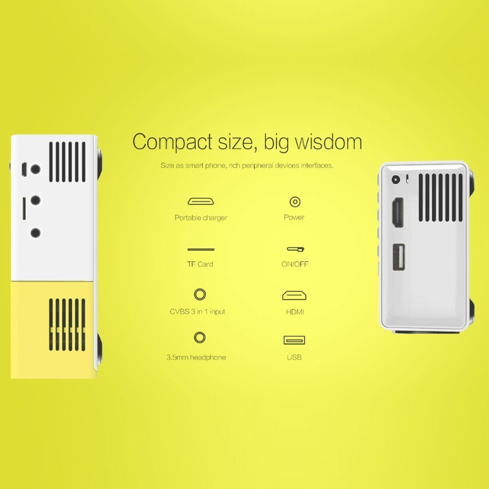OEM A1 LED LCD (QVGA) Mini Video Projector - US Version (Includes Warranty) - White/Yellow (FP3224A1WY) by OEM Projectors (Image #6)