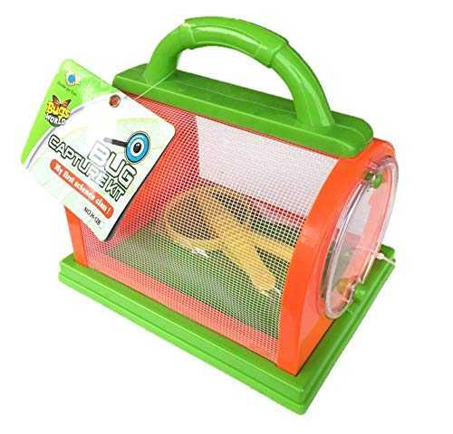 WOWGEEK Critter Case Bug Bungalow Insect Catching Kit Toys Critter Cage Bug Catcher Storage Children Kids Nature Science Learning Backyard Exploration Sturdy Plastic Easy-Open Hatch (Color May Vary)