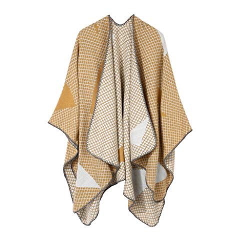 Women's Plaid Sweater Poncho Cape Coat Open Front Blanket Shawls and Wraps Travel Air conditioning Blanket Scarf(Yellow)