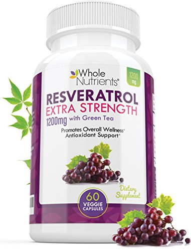 Resveratrol 1200mg – Extra Strength Natural Antioxidant for Anti-Aging, Immune System Health & Overall Wellness, 60 Trans-Resveratrol Capsules Green Tea & Lactobacillus Acidophilus – 30 Day Supply