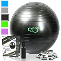 Exercise Ball (55cm-85cm) Extra Thick Professional Grade Balance & Stability Ball- Anti Burst Tested Supports2200Lbs- Includes Hand Pump & Workout Guide Access