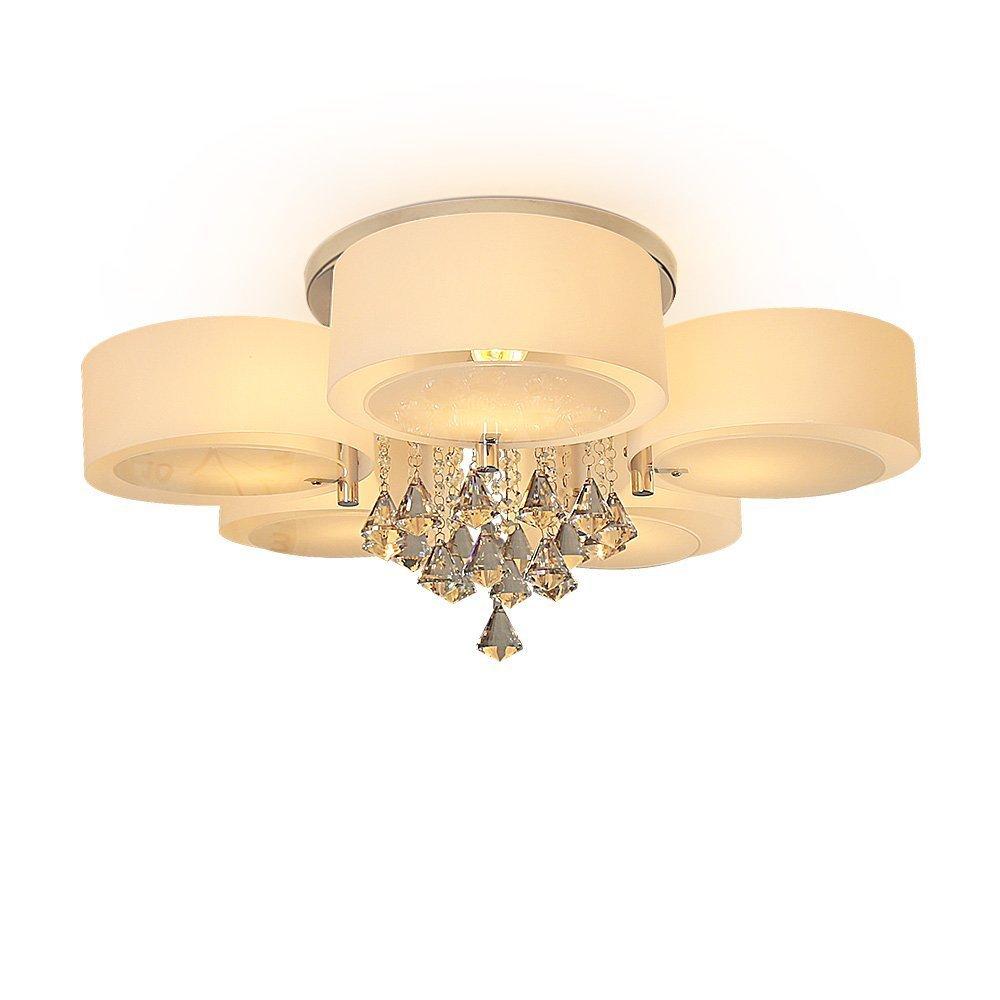 SFLGMF moderne Acryl Kristall Kronleuchter 5 Lichter (Chrom), moderne Deckenleuchte für, Flur, Schlafzimmer, Wohnzimmer