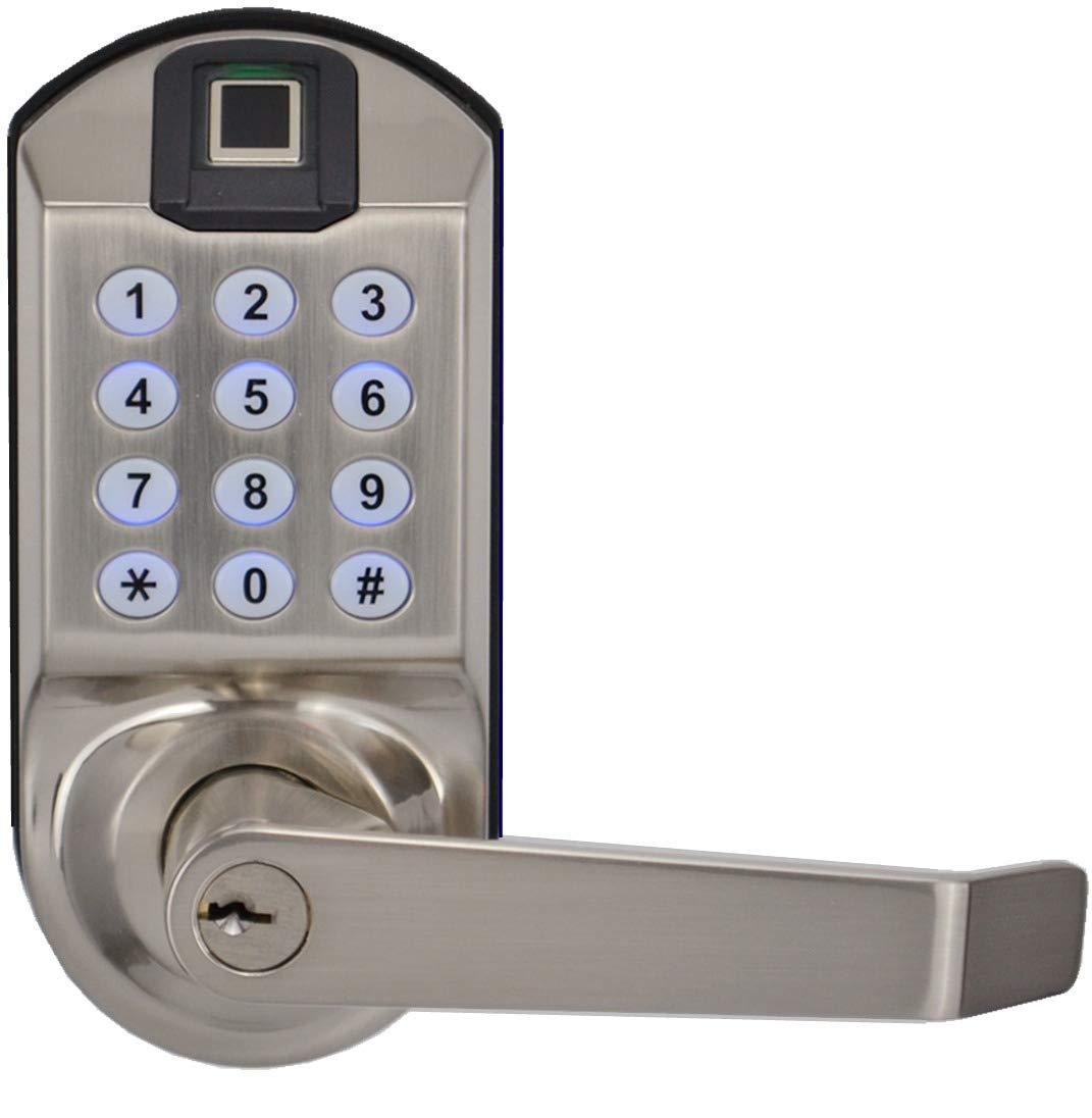 SCYAN X7 Fingerprint Keypad Door Lock, 2nd Generation, Non-Handed, Satin Nickel, Non-Weatherproof