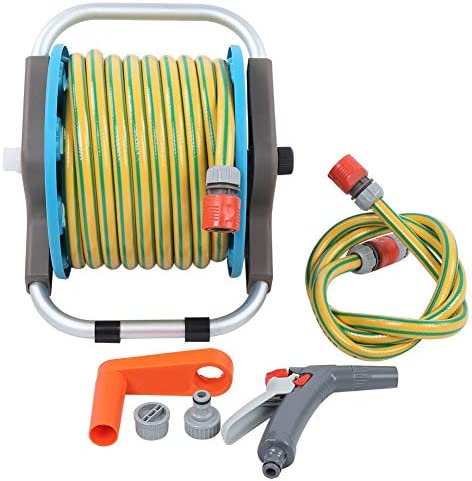 Leftwei Crank Handle PVC + PP Hose Rack Set, Durable Easy to Use Water Hose Sprayer, Car Washing for Household Cleaning